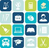 Education icons. Set of education icons in flat colorful style Stock Image