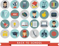 Education icons. Set of education icons in flat colorful style Royalty Free Stock Photo