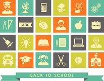 Education icons. Set of education icons in flat colorful style Royalty Free Stock Image