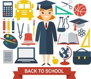 Education icons. Set of education icons in flat colorful style Stock Photos
