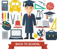 Education icons. Set of education icons in flat colorful style Royalty Free Stock Images