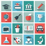 Education icons. Set of 16 Education icons. Flat design Royalty Free Illustration