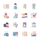 Education Icons Set 2 - Flat Series Stock Photos