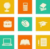 Education icons. Set of education icons in flat style Stock Photos