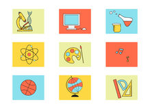Education icons set. In flat style Royalty Free Stock Photography