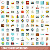 100 education icons set, flat style Royalty Free Stock Photo