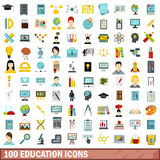100 education icons set, flat style Stock Photo
