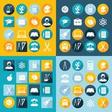 Education icons. Set of education icons in flat style with long shadows Stock Photography
