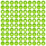 100 education icons set green circle. Isolated on white background vector illustration Stock Illustration