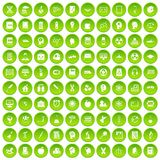 100 education icons set green. 100 education icons set in green circle isolated on white vectr illustration Royalty Free Stock Photo