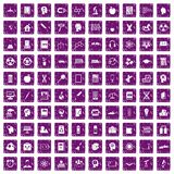 100 education icons set grunge purple Royalty Free Stock Image