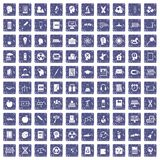 100 education icons set grunge sapphire Royalty Free Stock Photography