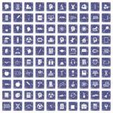 100 education icons set grunge sapphire. 100 education icons set in grunge style sapphire color isolated on white background vector illustration vector illustration