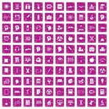 100 education icons set grunge pink. 100 education icons set in grunge style pink color isolated on white background vector illustration Royalty Free Stock Image
