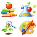 Education icons. Set isolated on white background Royalty Free Stock Image