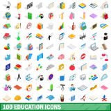 100 education icons set, isometric 3d style Royalty Free Stock Photography