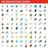 100 education icons set, isometric 3d style. 100 education icons set in isometric 3d style for any design illustration stock illustration
