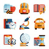 Education icons set Royalty Free Stock Images