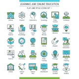 Education icons set 01. Learning and online education icons set. Modern icons on theme knowledge, scince, teaching, school and university. Flat line design icons Stock Photos