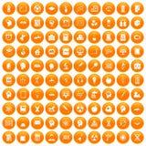100 education icons set orange. 100 education icons set in orange circle isolated on white vector illustration stock illustration