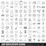 100 education icons set, outline style Royalty Free Stock Photography