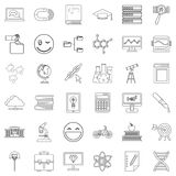 Education icons set, outline style Stock Image