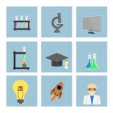 Education icons set. Science and education flat icons set Stock Photo