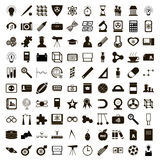 100 education icons set, simple style Royalty Free Stock Photography
