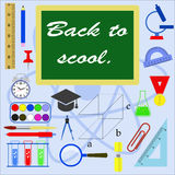 Education. Icons set of subjects for study Stock Images
