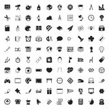 Education 100 icons set for web. Flat stock illustration