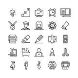 Education icons set. Icons on white background. Book and pen, board and microscope Royalty Free Stock Photo