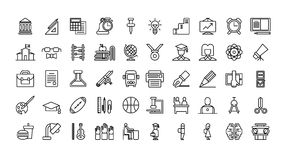 Education icons set. Icons on white background. Book and pen, globe and microscope Stock Photo