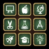 Education icons in square frames Royalty Free Stock Photography