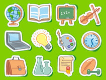 Education icons on stickers Royalty Free Stock Image