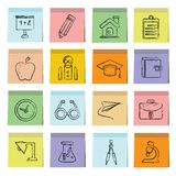 Education icons sticky note paper Stock Photo