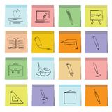 Education icons sticky note paper Royalty Free Stock Images
