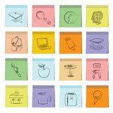 Education icons sticky note paper Royalty Free Stock Photos