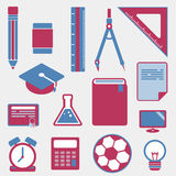 Education icons. Sweet color education icons on white background Royalty Free Stock Photo