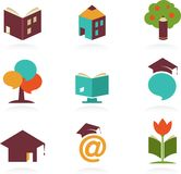 Education icons and symbols, online learning, Stock Images