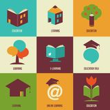 Education icons and symbols, online learning, Royalty Free Stock Images