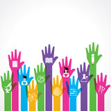 Education icons on up hand Stock Photo