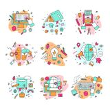 Education icons vector illustration educational and learning symbols of schooling and graduation set of school science. Books learned by educated students Royalty Free Stock Photography