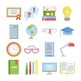 Education icons vector set isolated. Lerning or teaching collection. Online or offline education sign. School or Royalty Free Stock Photography