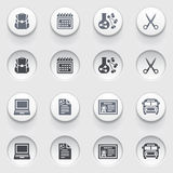 Education icons on white buttons. Set 2. Royalty Free Stock Photo