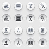 Education icons on white buttons. Set 1. Stock Photo