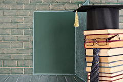 Education idea. The teacher before the open door represented on a chalkboard stock photos