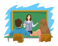 Education, illustration. Education showing a female teacher instructing a boy and a girl,  illustration Stock Images