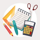 Education illustration design of school supplies Stock Photography