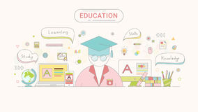 Education info graphic concept. Student and education icons flat line style created by the . Royalty Free Stock Photos
