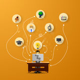 Education infographic with book stack and icons on orange backgr Stock Photography